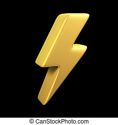 Gold lightning on black - Lightning gold symbol on a black...