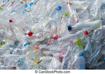 recycle plastic water bottles texture and background