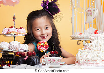 Portrait of smiling brown-eyed sweet tooth posing with...