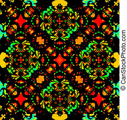 Vibrant Colors Refined Ornament - Digital collage and photo...