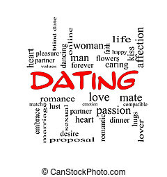 Dating Word Cloud Concept in red caps with great terms such...