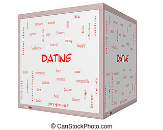 Dating Word Cloud Concept on a 3D cube Whiteboard with great...