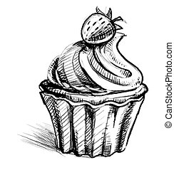 Creamy cup cake with delicious berry Hand drawing sketch...