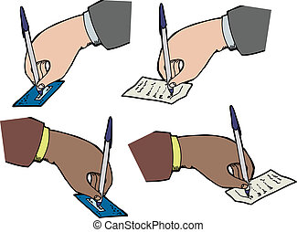 Hands Signing Receipts - Hands signing checks and receipts...