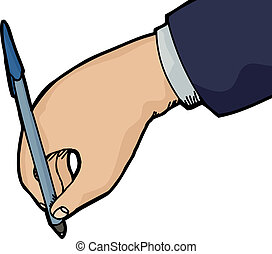 Hand Writing - Isolated hand holding pen writing over white...