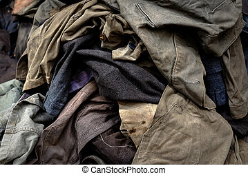 Dirty industrial clothes in a pile