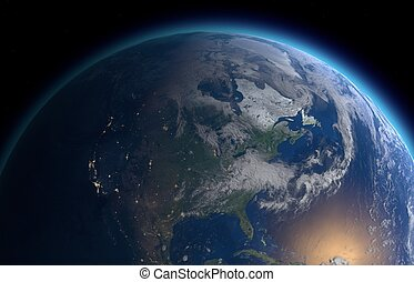 Earth - rendered illustration Earth as seen from outer space
