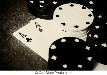 Double ace in poker - old photo of two aces with casino...