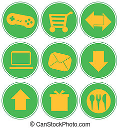 iconography - nine green icons with white silhouettes of web...