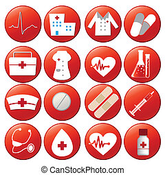 iconography - sixteen red icons with white elements of...