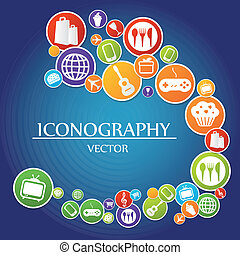 iconography - a blue background with a lot of colored icons...