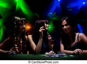 young girls on disco in night club