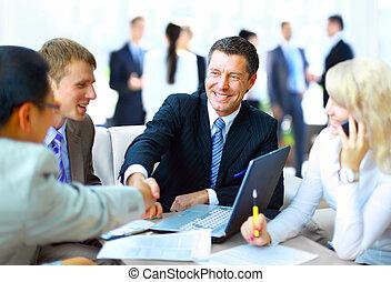 Business, gens, secousse, mains, finir, haut, réunion