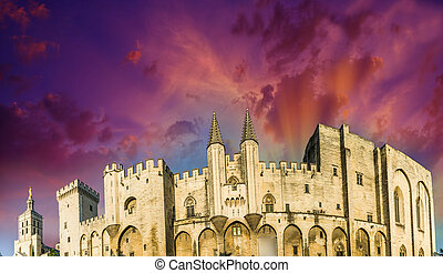 Popes Palace in Avignon, famous landmark of Provence