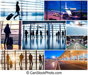 Collage of photos with airport in Beijing