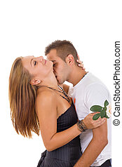 sexy couple in love with rose in girl's hand while boy is...