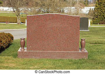 Granite Tombstone - Granite tombstone in a cemetery