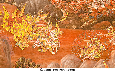 Masterpiece of traditional Thai style painting art on temple wall at Watphrakaew, Bangkok,Thailand