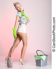 Sexy girl retro style, woman housewife cleaner with mop -...