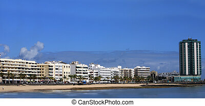 Panorama of the capital of Lanzarote, Arrecife,