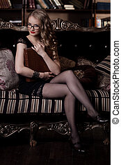 Woman in glasses - Stylish woman in the luxury in glasses