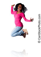 Woman jumping of happiness - Beautiful young woman jumping...
