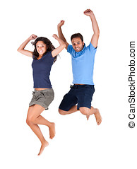 Couple jumping high in the air for joy - Young man and woman...