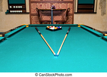 Billiard balls - pool - Billiard balls and cue on a billiard...
