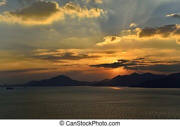 Sunset of Seaside in Namhae in Korea
