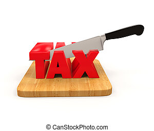 Tax Cut Concept isolated on white background 3D render