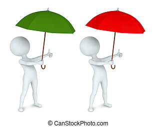 Small white man with an umbrella - 3D illustration of small...