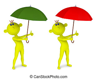 Small yellow man with an umbrella - 3D illustration of small...