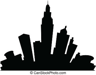 Cartoon Columbus - Cartoon skyline silhouette of the city of...