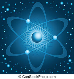 Cold Atom - Illustration of a cold, blue atom with orbiting...