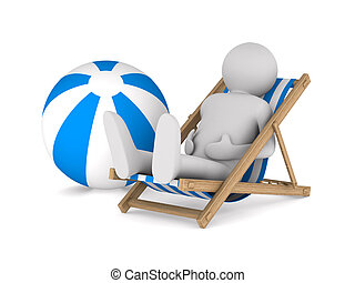 Man on deckchair and ball on white background Isolated 3D...
