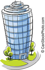 Condo Tower - A cartoon, glass condo tower.