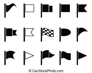 black flag icons - isolated black flag shape icons from...
