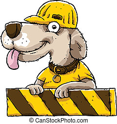 Construction Dog - A friendly cartoon dog at a construction...