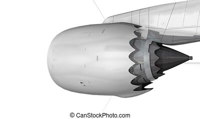 Commercial jetliner engine, matte.
