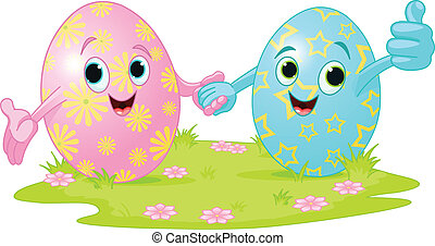 Easter Eggs - Two cute Easter Eggs holding hands