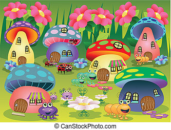 Bug Town - Mushroom Houses with Bugs