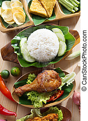 Indonesian fried chicken rice - Popular Indonesian local...