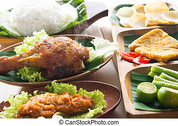 Popular Indonesia fried chicken rice - Popular delicious...