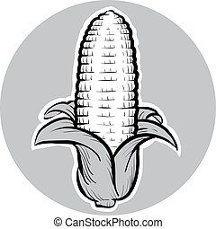 Corn Cob - A ripe, cartoon corn cob, ready to eat.