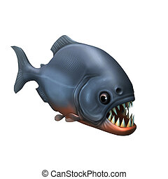 Piranha  - 3d render fresh water fish