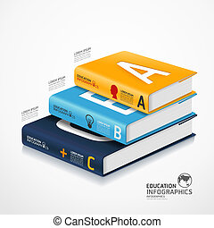 modern infographic Template with book and globe banner / can...
