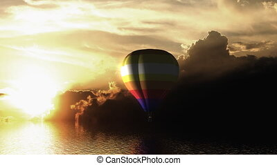 Hot air balloon fly over the sea - Sunset hot air balloon...