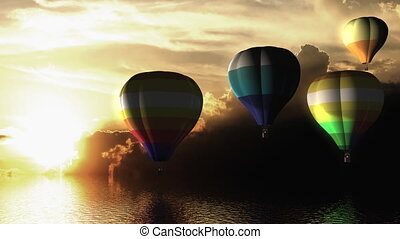 Hot air balloon fly over the sea. - Sunset hot air balloon...