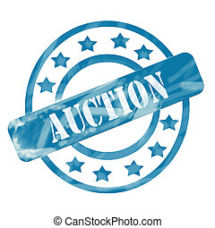 Blue Weathered Auction Stamp Circles and Stars
