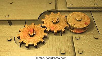 Wooden gears.